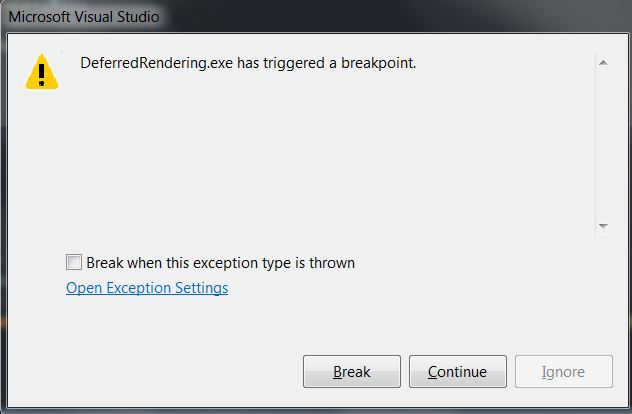 Visual Studio has triggered a Breakpoint
