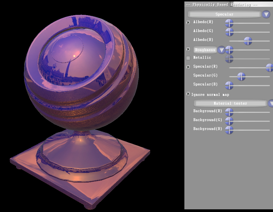 A material with a colored specular and a colored diffuse.